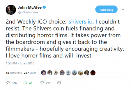 「2nd Weekly ICO choice: http://www.shivers.io 」ジョン・マカフィーがツイート。仮想通貨ICOニュース速報