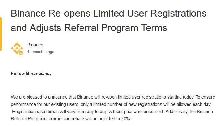 バイナンス新規ユーザー登録を限定的に再開