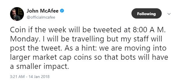 マカ砲予告「月曜AM8:00にCoin of the week」をツイート予定。より大きな時価総額のコイン?ジョン・マカフィー発言。仮想通貨ニュース速報