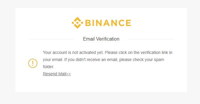 BINANCE(バイナンス)で新規ユーザー登録時の認証メールが届かない場合の対応方法再送方法追記。ログインを試すとメール再送リンクが表示される