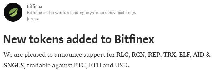 Bitfinexに$RLC, $RCN, $REP, $TRX, $ELF, $AID & $SNGLSが上場!仮想通貨海外取引所ニュース速報