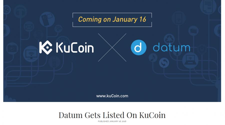 KuCoin新着!Datum Gets Listed On KuCoin   暗号通貨ニュース速報