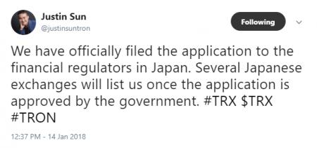 TRON日本国内取引所への上場濃厚?$TRX(トロン)ファウンダー ジャスティン・サンがツイート