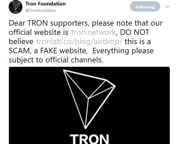 $TRX(TRON)AirDrop配布は偽サイト:SCAM(スキャム)。TRON公式アカウントがツイート