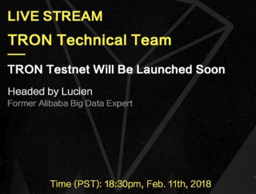 TRONテクニカルチームライブ配信予定!2月11日18時半から。仮想通貨アルトコイン$TRX(TRON/トロン)最新情報