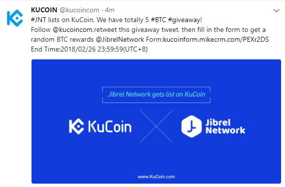 $JNT Kucoinに上場。Giveaway 5BTC!仮想通貨取引所アルトコイン最新ニュース速報