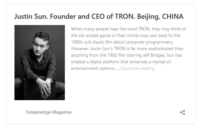 TRONファウンダー ジャスティン・サン totalprestigemagazine.comで特集!仮想通貨アルトコイン$TRX(TRON/トロン)最新ニュース速報