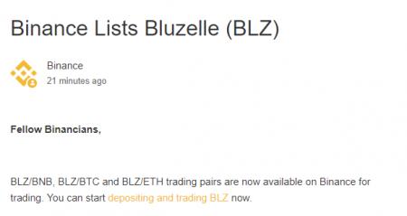 バイナンスに$BLZ(Bluzelle )新規上場!仮想通貨アルトコイン取引所新規上場最新情報