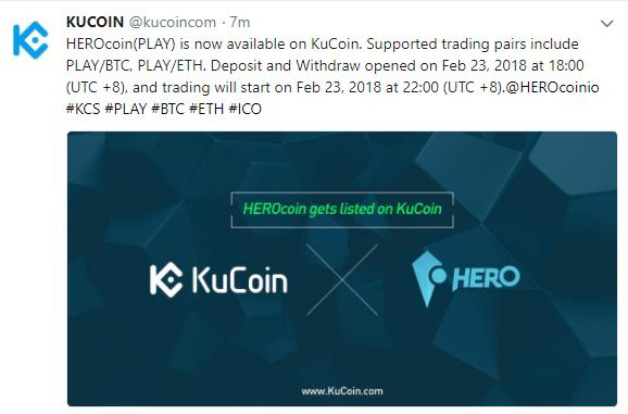 $PLAY(HEROcoinヒーローコイン)がKuCoinに上場!仮想通貨取引所アルトコイン新規上場最新情報