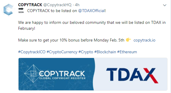 $CPY COPYTRACKがTDAXに2月上場予定!HitBTCにも上場決定済み。仮想通貨取引所ICO新規上場最新情報$CPY COPYTRACK will be listed on TDAX in February!and HitBTC!Cryptocurrency exchange ICO new listing news